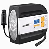Suaoki Car Pump Tyre Inflator Air Compressor with Digital Pressure Gauge 100 PSI, for Car Tire Motorcycle 12v, 3 Light Modes, 2 Valve Adapters, 9.67ft Cord and Storage Case