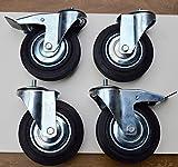 x4 NEW HEAVY DUTY INDUSTRIAL CASTORS WHEELS TROLLEY RUBBER BRAKES SWIVEL 160MM