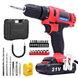 Lithium-Ion Cordless Drill/Driver Kit - VIDEN 21V Cordless Drills with Drill Bits Sets, Powerful 2-Speed 18 Position Clutch, LED Light, Battery and Charger, Driver Accessories Tool Kit + Carrying Case
