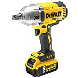 Dewalt DCF899P2 Lithium Ion Impact Wrench High Torque with 2 x 5 Ah Batteries/Charger and Kit Box, 18 V, Yellow/Black, Set of 5 Piece