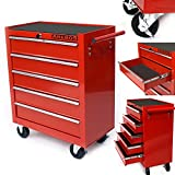 Arebos Tool Trolley red lockable (5 Drawers)