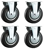 100mm Black Rubber Industrial Castors - Fixed Top Plate - Heavy Duty Casters Wheels by Bulldog Castors (Trolley & Equipment) - Max 400Kg Per Set