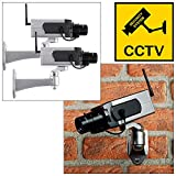 Tooltime 2 x Realistic Dummy Security Camera with Motion Sensor Activated Panning Movement and Flashing LED Light
