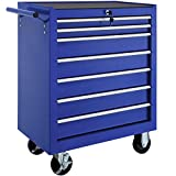 TecTake Tool cabinet cart workshop trolley on wheels | 7 drawer with ball bearing slides | -different models- (Blue | No. 402801)