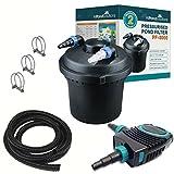 Pressurised Pond Filter and UV Steriliser Light - Optional Pump and Hose Kits (PF-8000-KIT)
