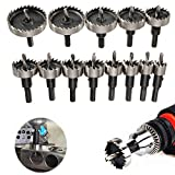 13Pcs Drill Bit Hole Saw Set, HSS Carbide Tip Hole Saw Tooth Cutter Drill Bits Hole Saw Kit Stainless High Speed Steel Metal Alloy Hole Drilling Tools for Plastic, Stainless, Metal, Wood 16-53MM