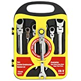 OCGIG 7 Pcs Combination Flexible Pivoting Ratcheting Box End Wrench Spanner Set Open End Ratcheting Wrench Set Metric 8mm - 19mm