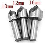 3 Pcs HSS Countersink Drill Bits Set Power Tool Chamfer Steel Hard Metals 10mm,12mm,16mm