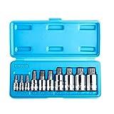 Capri Tools XZN Triple Square Spline Wrench Bit Socket Sets, S2 Bit, 10-Piece