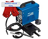 Draper 32728 Gasless Mig Welding Machine Kit Deal With Welder's Red Leather Gauntlets supplied ready to go with a earth clamp, spool of 0.8mm flux cored wire, chipping hammer/brush and f