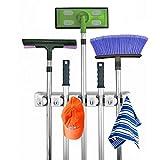 Coopache Mop Broom Holder Rack Towel Hooks 5 Non-slip with 6 Hooks Wall Closet Mounted Organizer Brooms Mops Rakes Garage Storage Organization Systems