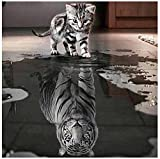 DIY 5D Diamond Painting,Malloom Cat and Tiger Crystal Rhinestone Embroidery Pictures Arts Craft for Home Wall Decor (30 * 30cm)