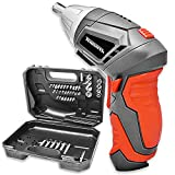 Cordless Screwdriver Terratek 3.6V 1300 mAh Rechargeable Lithium-Ion Battery Pivot Handle DIY Socket Electric Screwdriver Drill Set Massive 45Pc Accessory Kit, LED Worklight, Carry Storage Case