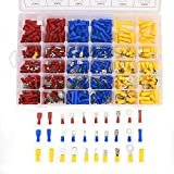 Aussel Assorted Insulated Electrical Wiring Wire Terminals Crimp Connector Butt Spade Ring Fork Set with Box (480PCS)