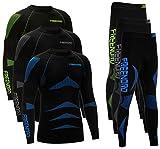 ENERGYTECH EVO Functional Thermal Underwear Breathable Active Base Layer SET (Black/Green, XXL)
