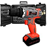 Cordless Drill Driver Kit, 18V/20V-Max Lithium-Ion Electric Screwdriver complete with 89pc Tool & Accessory Set, Combi Drill, Variable Speed, Carry Case, 16 Torque Settings … (DIY)