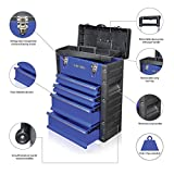 US PRO TOOLS Blue Work center Workshop Plastic Steel Mobile Rolling Chest Trolley Cart Storage cabinet Tool Box