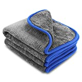 1,200GSM Microfibre Cleaning Towel / Cloth, Zoegate microfiber towel Lint-free Dual Layer Ultra-Thick Car Wash Buffing Wax Polishing and Drying Cloth Towel Auto Detailing Towels 40 x 45 cm - perfect for clean