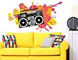 I-love-Wandtattoo WAS-11210 Living room wall tattoo 'Ghetto blaster with intense spots of paint'' music picture to glue music lounge wall tattoo wall sticker music motive sticker XXL