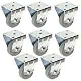 SPARES2GO Universal Heavy Duty Rubber Fixed Plate Castor Wheels For Chiller Cabinet Fridge Freezer Refrigerator (50mm, Pack of 8)