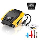 Digital Tyre Inflator SEEYC 12V 120W 150PSI Air Compressor Tyre Pump with Larger Air Flow 40L/Min, Updated Digital Display, LED Light, 3 Diverse Valve Adaptors for Cars/Bikes/Airbeds/Motorcycles/Basketballs