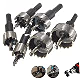 Yakamoz 6PCS 16-32MM HSS Drill Bit Hole Saw Set Stainless High Speed Steel Metal Alloy Silver