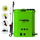 12 V battery powered sprayer 16 LITRES Vito 6 Bars Max 4 Hours Battery Life Chargers + 3 Nozzles Included végetaux Roof Garden