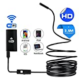 WIFI Endoscope, Wireless Inspection Camera 2.0 Megapixel 720P HD Borescope, IP67 Waterproof Snake Camera with 6 Adjustable LED for IOS Android Iphone Smartphone Tablet PC (3.5 M)