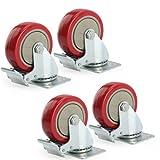 GBL 4 Heavy Duty 100mm Swivel Castor Wheels Trolley Furniture Caster with Brakes - 600KG Load Capacity