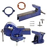 Rayinblue Heavy Duty Bench Vice, Jaw Bench Vice Engineer Workshop Clamp Work Bench Table and Anvil with 3 Mount Holes 360 Degree Swivel Base (4' 100mm)