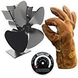 Cosystove 4 Blade Silent Heat Powered Wood Burning Multi-fuel Stove Fan Including Genuine Leather Protective Gauntlets and Flue Pipe Thermometer Better Effiency Woodburner Plus New 2017 2018 Care Pack Save Money