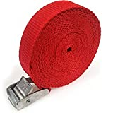 2 x Lifting straps cam buckle 5m x 25mm Red / 250kg Cargo luggage roof rack strap