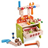 Kids Childrens Toddlers Pretend Play 40 piece set Workbench Tool Box Tools and Accessories by Babyhugs