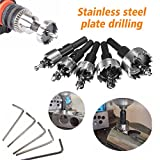 MOHOO Hole Saw 5 pcs hole cutters 16/18.5/20/25/30 MM HSS Hole Saw Set Stainless High Speed Steel Metal Alloy Silver spring design