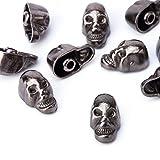 Weddecor 9mm Gunmetal Skull Head Punk Metal Rivets - Crafting Accessories for Leather Belts, Bags, DIY work, Shoe, Designer clothing (Pack of 100)