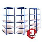 Garage Shelving Units: 180cm x 90cm x 60cm | Heavy Duty Racking Shelves for Storage - 3 Bay Extra Deep, Blue 5 Tier (175KG Per Shelf), 875KG Capacity | For Workshop, Shed, Office | 5 Year Warranty