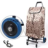 ZGL Trolley Trolley 4 Wheels Folding Pull Rod Car Portable Universal Wheel Load King Luggage Cart Purchase Stall Trolley Home Water Puller Hand Car (Color : Gold)