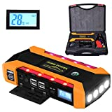 EletecPro Car Jump Starter 14400mAh 600A Peak with LED Emergency lights,External Battery Charger Auto Booster Jumper for Vehicles,Portable Power Bank with Flashlight and 4 USB Ports for cell phones