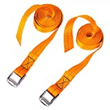 CSTOM 1' x 8' Lashing Strap Tie Down Straps Tensioning Belts, Rated 500 Lbs - Pack of 2, Orange