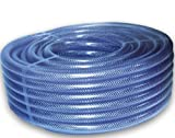 10mm (3/8') Clear Braided PVC Hose Pipe - 10m Length - Heavy Duty, Water, Airline, Compressor, Food Grade