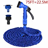 Flexible Garden Hose Gun, 75FT Expandable Magic Flexible Garden Hose Garden Kits Water Spray Lawn Sprinkler Car Wash Water Gun Ajustable Hose Nozzles 7 Pattern High Pressure Power Washer for Watering Plants, Showering Pets, Cleaning Patio, Cleaning Car (75ft, Blue)