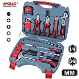 Apollo 68pc Home & Garage Hand Tool Set including 3/8' Metric Sockets(4-17mm), Claw Hammer, Adjustable Spanner, Combination & Long-Nose Pliers and Screw Bits Garage Tool Set in Sturdy Storage Case