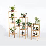 YQQ Combination Flower Rack Solid Wood Multilayer Ladder Shelf Bamboo Living Room Wooden Shelf Outdoor Flower Stand Balcony Strong