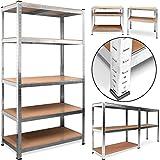 Deuba Heavy Duty Industrial Shelving Unit 5 Tier Garage Metal Racking Galvanized Storage Shelves Steel MDF Boltless | 875Kg Capacity | CONVERTS TO WORKBENCH | Silver 180x90x40cm