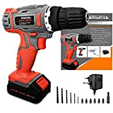 Cordless Drill Driver 18V/20V-Max Lithium-Ion Combi Drill, Electric Screwdriver 13pc Accessory Kit, LED Work light, Quick Change Battery & Charger Included (DIY) (Upgraded)
