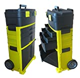 WestWood Mobile Work Shop 3 Compartments Chest Trolley Cart Storage Tool Box Plastic Toolbox With Drawers Wheel Black and Yellow New