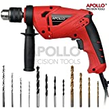 Apollo Heavy Duty 710W Corded Electric Hammer 13mm Chuck Power Drill with 15 Piece Accessories & Drill Bit Set for Concrete, Brick, Masonry, Wood, Metal, Plastics DIY Drilling in the Home, Workshop or Garage