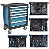 vidaXL Workshop Tool Box Trolley Mobile Cart Chest with 270 Tools Steel Blue