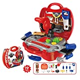 Asdomo Kids Toy Tool Set and Power Play Tools, 19 Pieces Construction Toys Workbench Toddler Tool Box Set Workshop Pretend Role Play Set with a Sturdy Case Gifts for Children Boys and Girls by