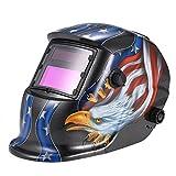 KKmoon Solar Auto Darkening Welding Helmet Welders Mask Arc Tig Mig Grinding Eagle Black
